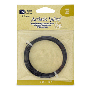 Artistic Wire, 16 Gauge (1.3 mm), Black, 10 ft (3.1 m)