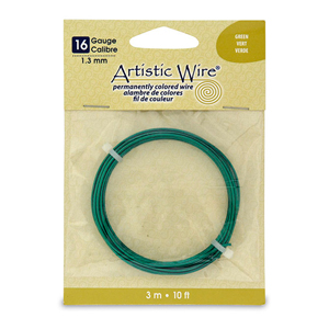 Artistic Wire, 16 Gauge (1.3 mm), Green, 10 ft (3.1 m)