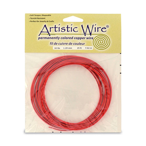 Artistic Wire, 16 Gauge (1.3 mm), Red, 25 ft (7.6 m)