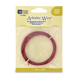 Artistic Wire, 16 Gauge (1.3 mm), Burgundy, 10 ft (3.1 m)