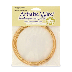 Artistic Wire, 16 Gauge (1.3 mm), Tarnish Resistant Brass, 25 ft (7.6 m)