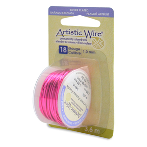 Artistic Wire, 18 Gauge (1.0 mm), Silver Plated, Fuchsia 4 yd (3.6 m)