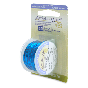 Artistic Wire, 20 Gauge (.81 mm), Silver Plated, Silver Blue, 6 yd (5.5 m)