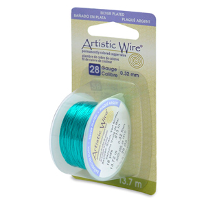 Artistic Wire, 28 Gauge (.32mm), Silver Plated, Seafoam Green, 15 yd (13.7 m)