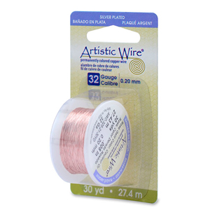 Artistic Wire, 32 Gauge (.20 mm), Silver Plated, Rose Gold Color, 30 yd (27.4 m)