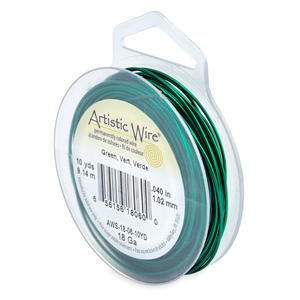 Artistic Wire, 18 Gauge (1.0 mm), Green, 10 yd (9.1 m)