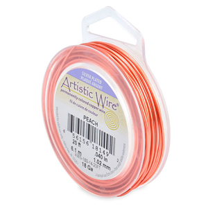 Artistic Wire, 18 Gauge (1.0 mm), Silver Plated, Peach, 20 ft (6.1m)