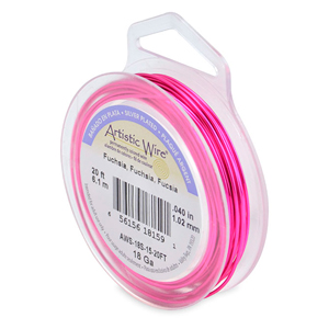 Artistic Wire, 18 Gauge (1.0 mm), Silver Plated, Fuchsia 20 ft (6.1m)