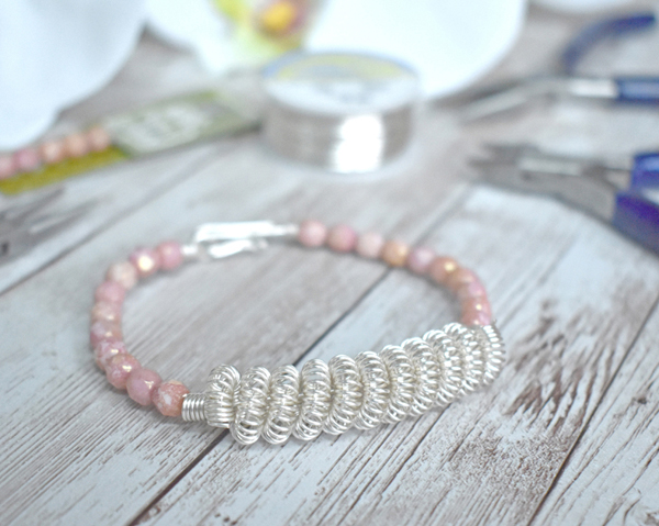 Coiled Wire Bead Bracelet