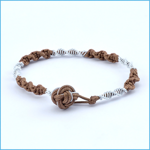 Knotty Brown and White Bracelet