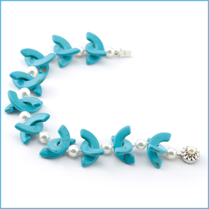 Turquoise Stone and Pearl Bracelet