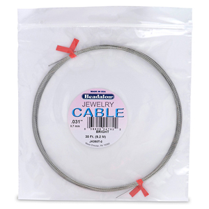 Stainless Steel Jewelry Cable, .031 in (0.79 mm), Bright, 30 ft (9.2 m)