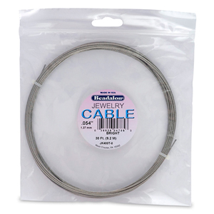 Stainless Steel Jewelry Cable, .054 in (1.37 mm), Bright, 30 ft (9.2 m)