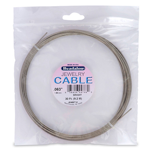 Stainless Steel Jewelry Cable, .062 in (1.58 mm), Bright, 30 ft (9.2 m)