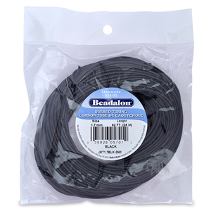 Rubber Tubing(Neoprene), 1.7 mm (.067 in), Black, 25 m (82 ft)