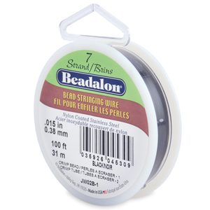 7 Strand Stainless Steel Bead Stringing Wire, .015 in (0.38 mm), Black, 100 ft (31 m)