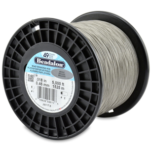 49 Strand Stainless Steel Bead Stringing Wire, .018 in (0.46 mm), Bright, 5000 ft (1525 m)