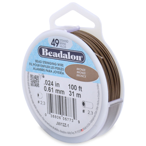 49 Strand Stainless Steel Bead Stringing Wire, .024 in (0.61 mm), Bronze, 100 ft (31 m)