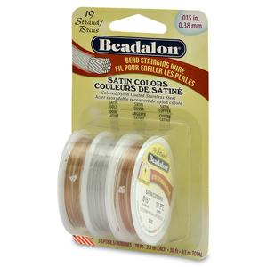 19 Strand Bead Stringing Wire, 3-Pack, .015 in (0.38 mm), Satin Silver, Satin Gold, Satin Copper, 10 ft (3.1 m) ea