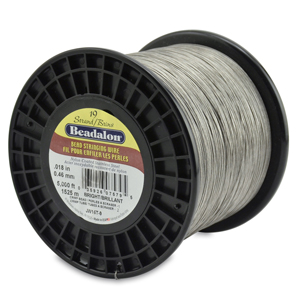 19 Strand Stainless Steel Bead Stringing Wire, .018 in (0.46 mm), Bright, 5000 ft (1525 m)