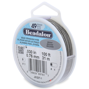 49 Strand Stainless Steel Bead Stringing Wire, .030 in (0.76 mm), Bright, 100 ft (31 m)