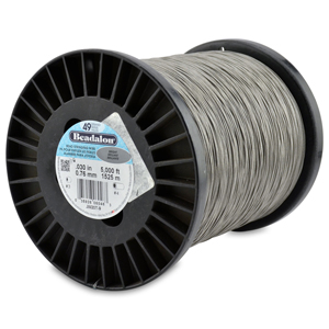 49 Strand Stainless Steel Bead Stringing Wire, .030 in (0.76 mm), Bright, 5000 ft (1525 m)