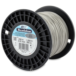 49 Strand Stainless Steel Bead Stringing Wire, .036 in (0.91 mm), Bright, 1000 ft (305 m)