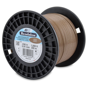 49 Strand Stainless Steel Bead Stringing Wire, .036 in (0.91 mm), Bronze, 1000 ft (305 m)