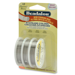 19 Strand Bead Stringing Wire, 3-Pack, .012 in (0.30 mm), .015 in (0.38 mm), 0.18 in (0.46 mm), Bright, 10 ft (3.1m) ea
