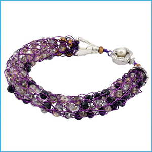 Beaded Wire Knit Bracelet