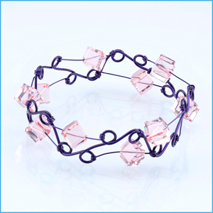 Purple Wire with Pink Square Bracelet
